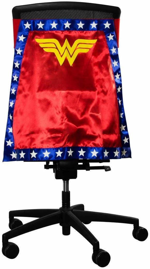 An office swivel chair with the red, white, blue, and yellow cape attached to it