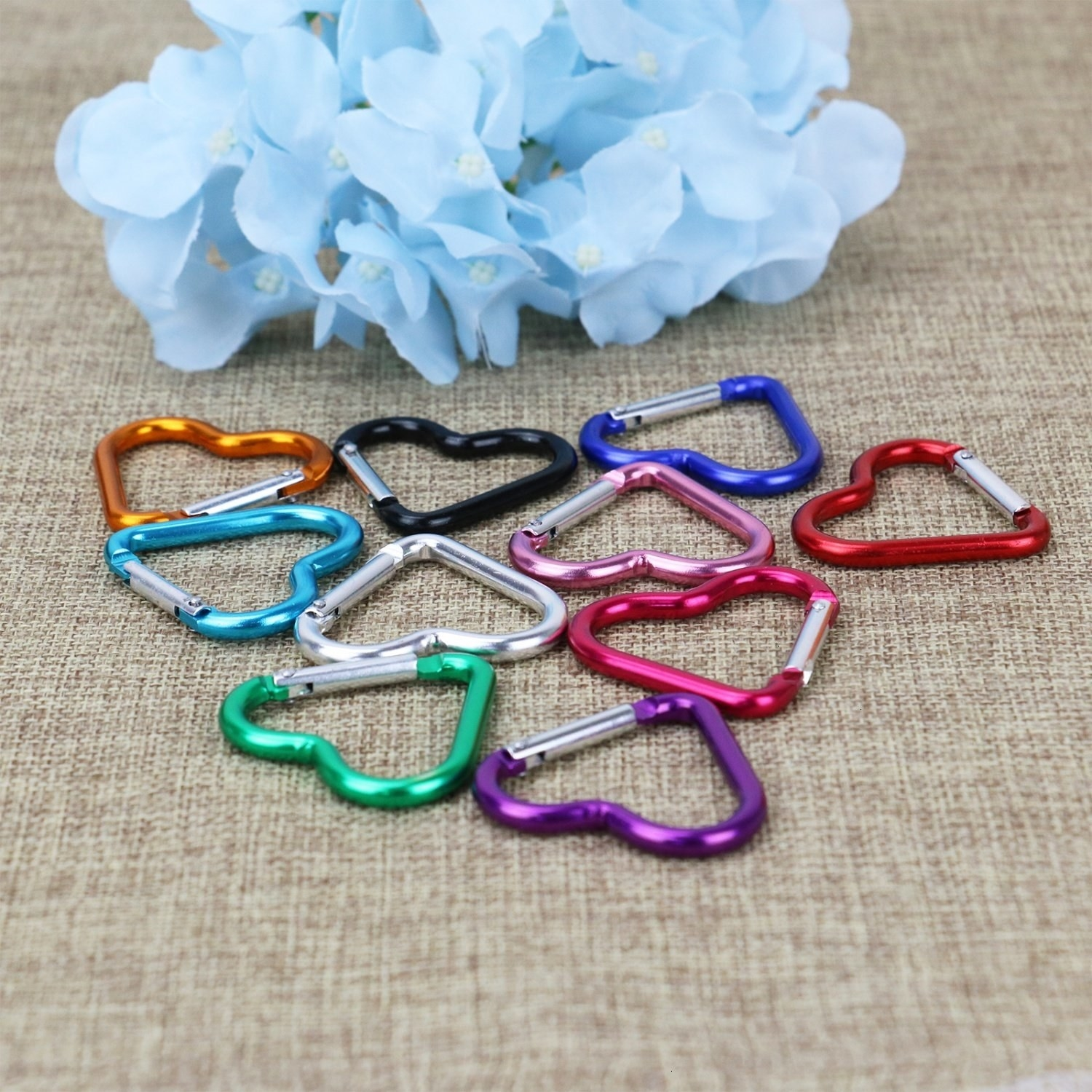 the carabiners in multiple colors