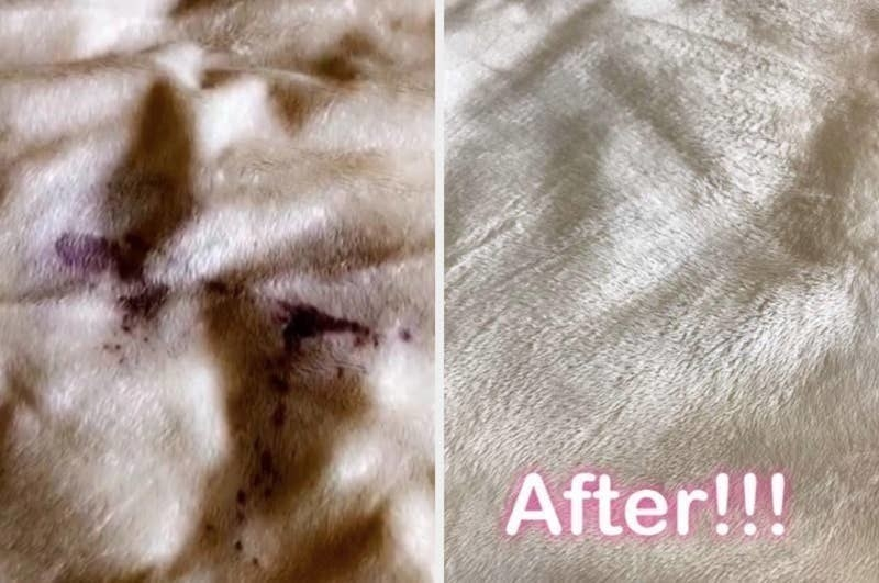 on the left, a white blanket with a purple wine stain, and on the right, the same blanket, now completely free of the stain