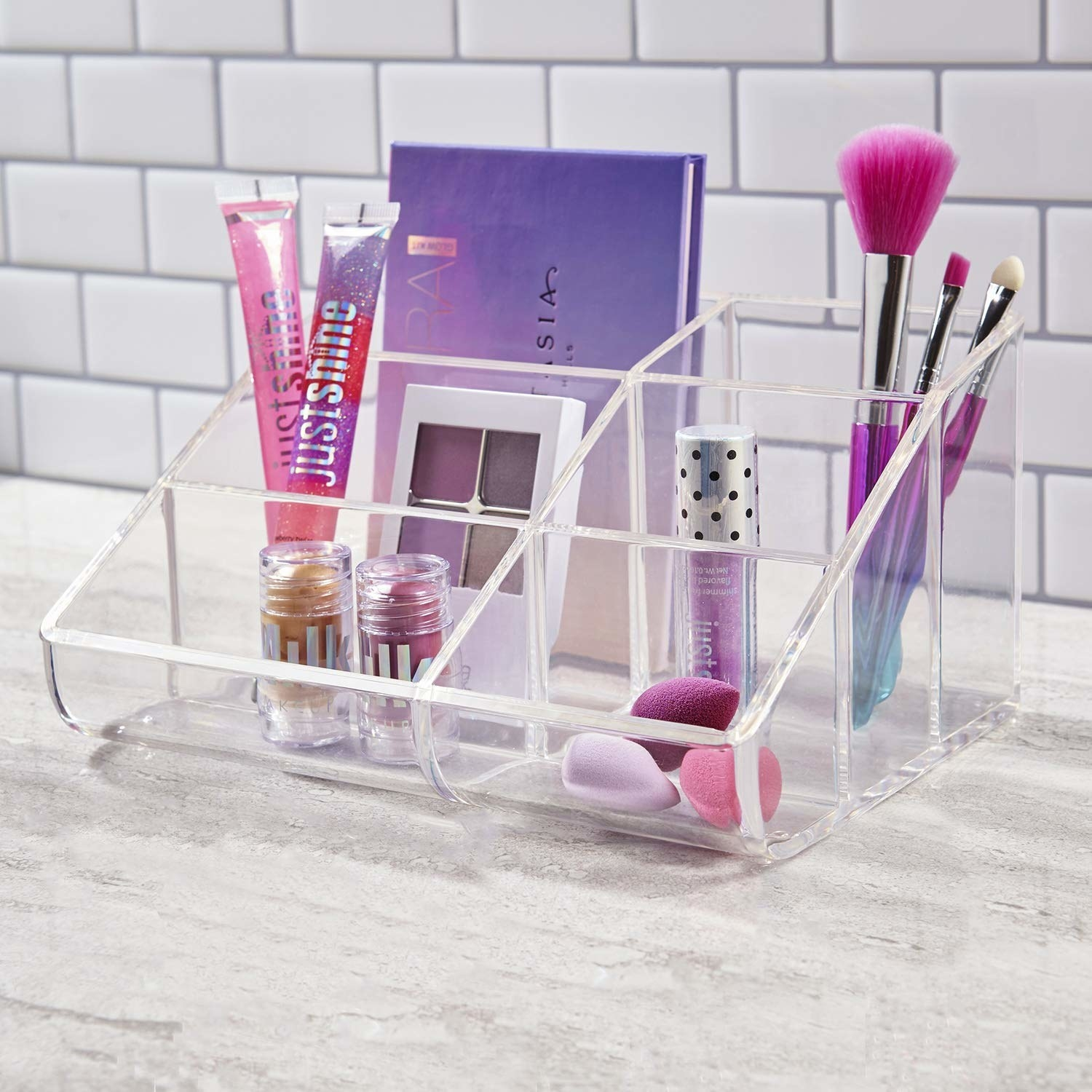 six-compartment open clear organizer, with taller options in back