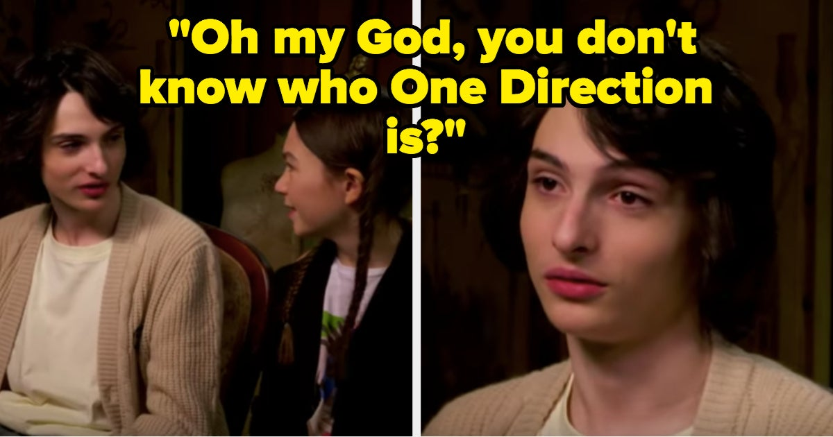 I, A 26-Year-Old, Am Freaking Out At Finn Wolfhard, A 17-Year-Old, Reacting To His Co-Star, A 9-Year-Old, Not Knowing Who One Direction Is