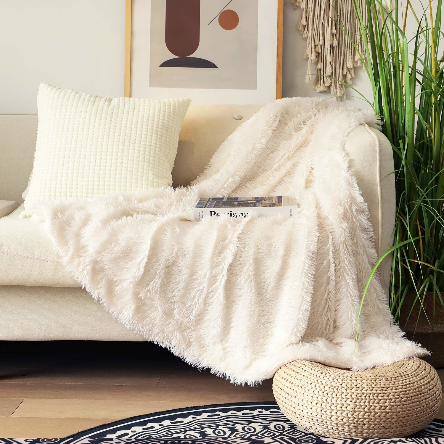 white fuzzy throw on a couch