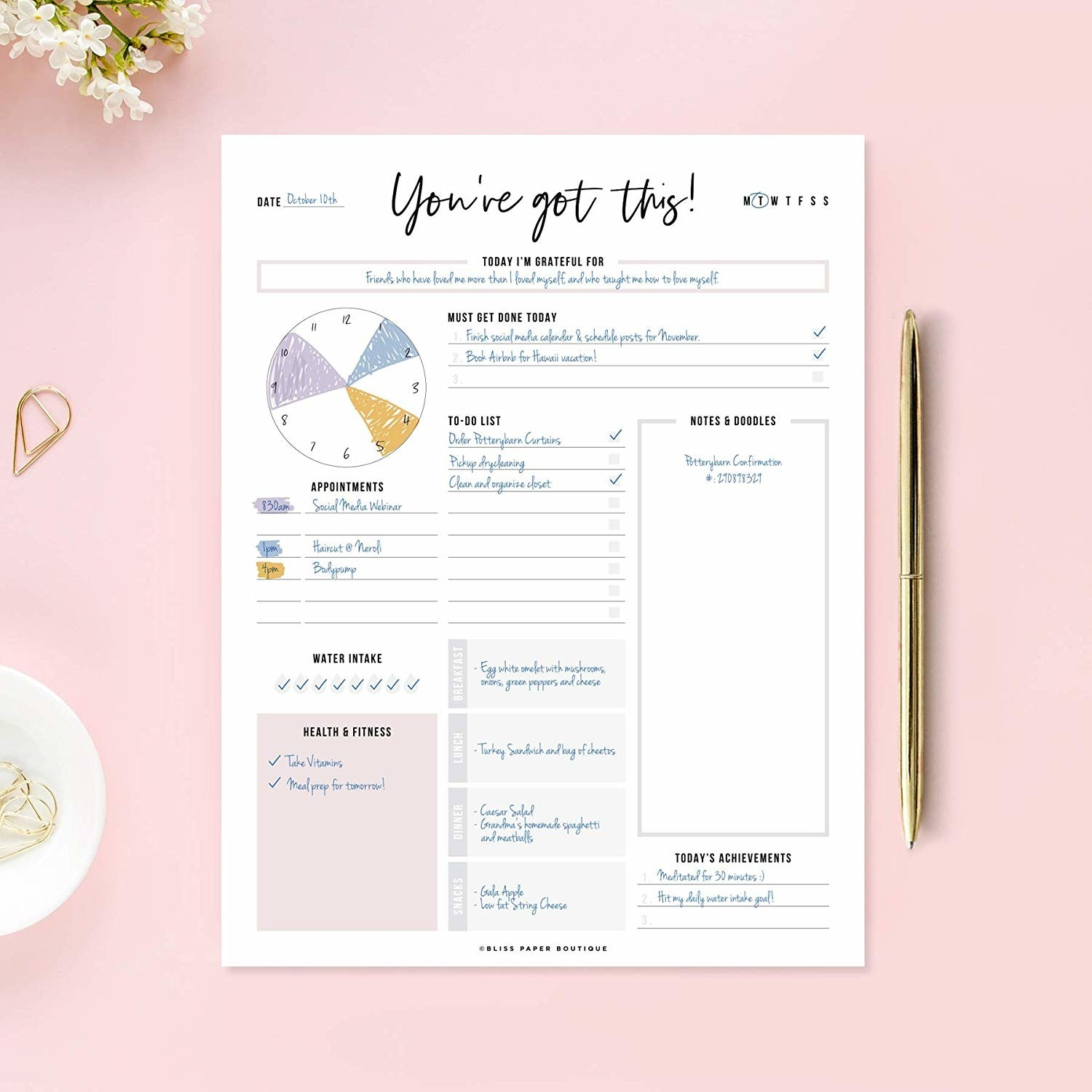 "The planner pad, which reads ""you've got this"" at the top"
