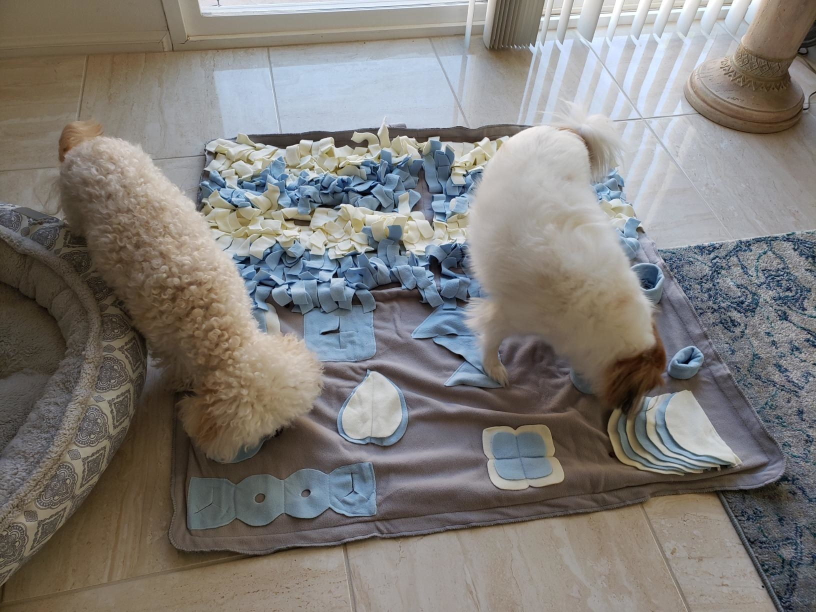 Two dogs interacting with the mat, which has felt sections