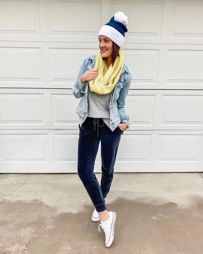 Reviewer wearing the joggers in navy blue