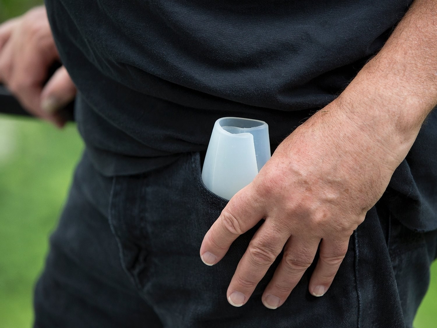 Silicone glass folded in someone's pocket.