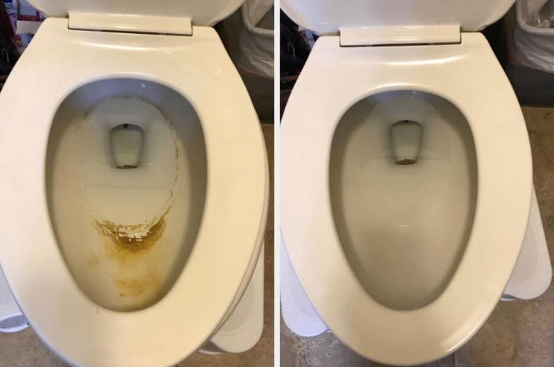 on the left, the inside of a reviewer's toilet looking dirty, and on the right, the same toilet now looking clean