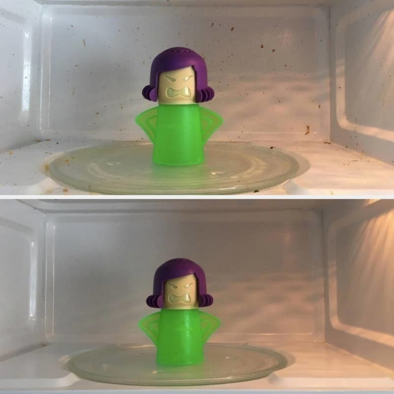 on the top, a reviewer's microwave looking dirty, and on the bottom, the same reviewer's microwave looking clean after using the angry mama