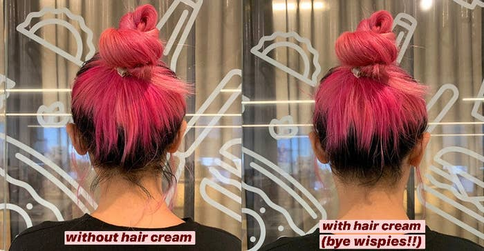 A comparison showing a person's bun before and after using the hair finishing stick