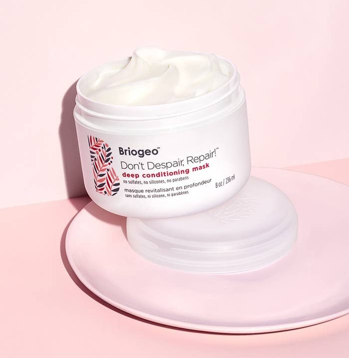 Open jar of the hair mask, showing creamy texture