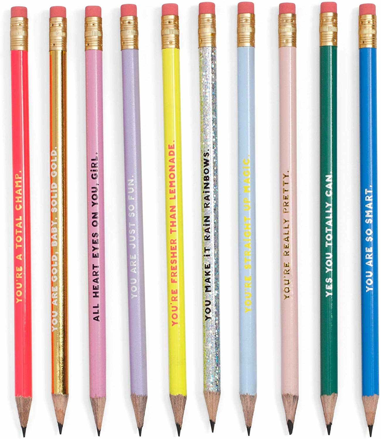 A set of ten sharpened pencils with quotes written on them
