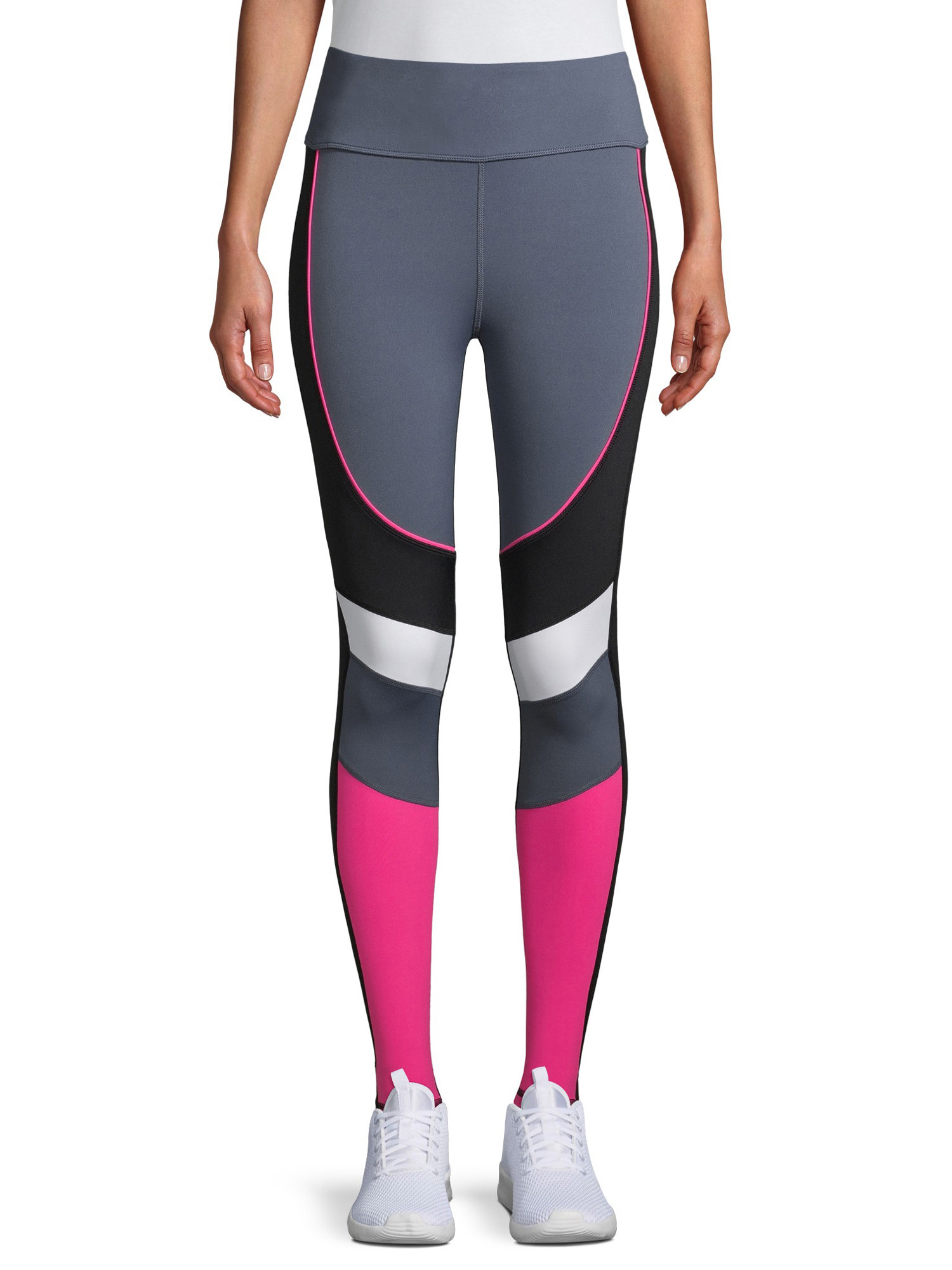 Barre /& Athleisure in Black with White and Pink Accent Leggings for Yoga