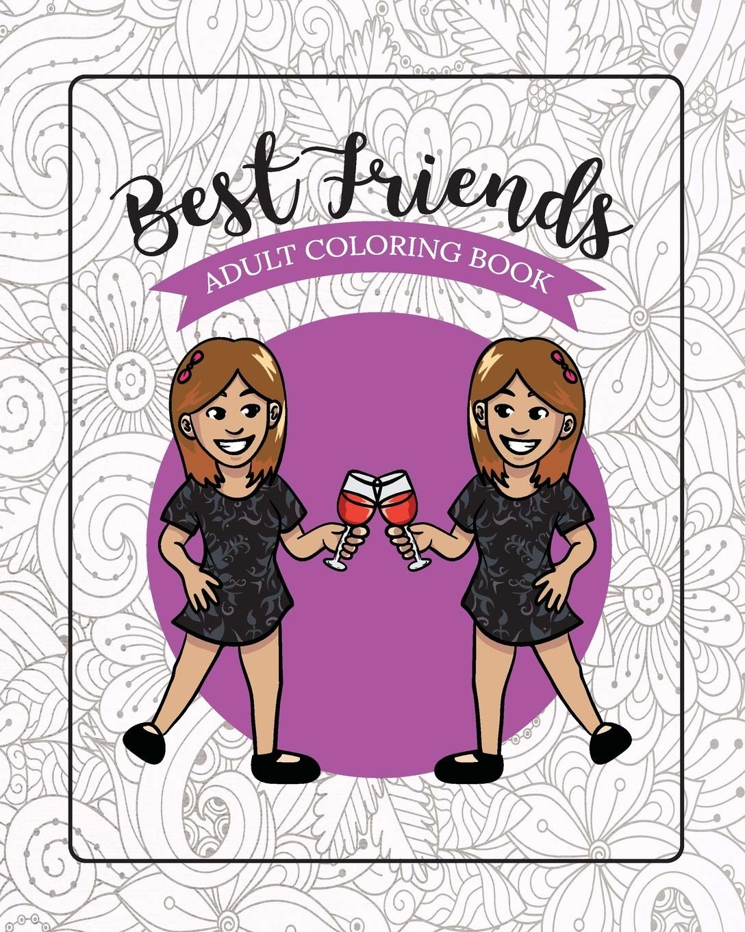 A colouring book cover of two people holding wine glasses