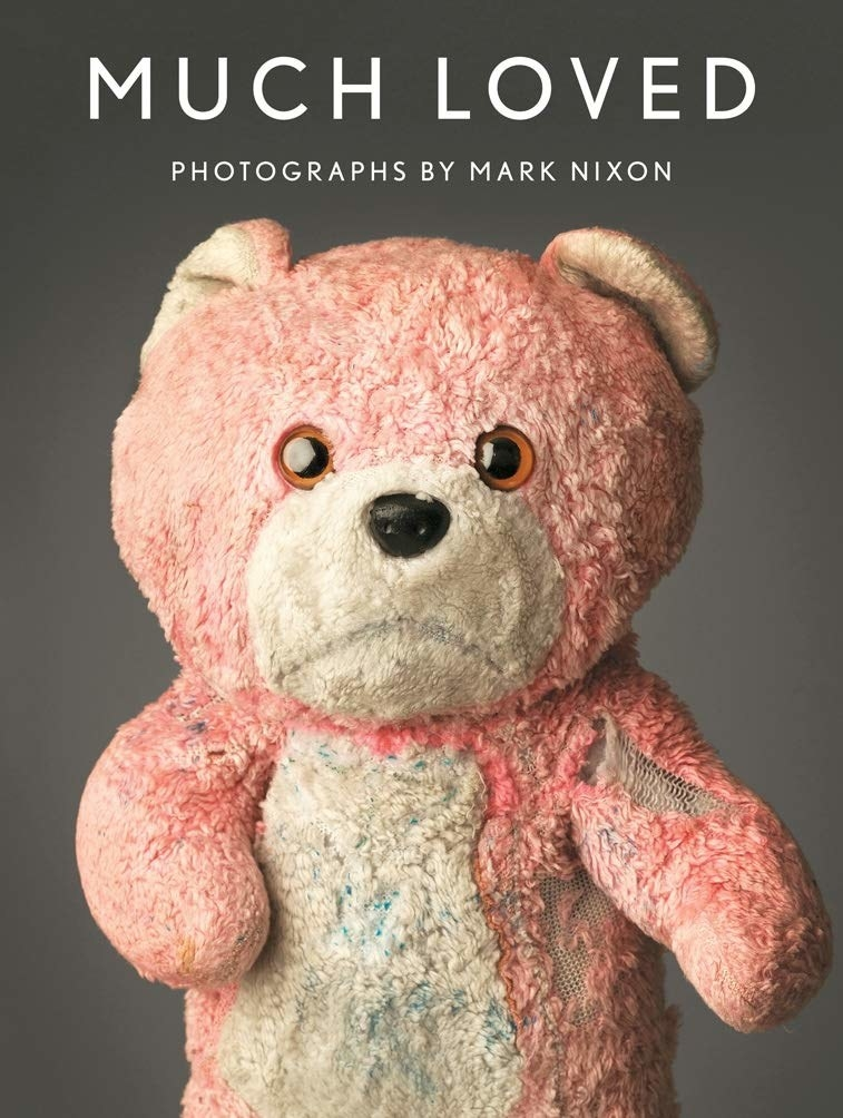 Book cover with very old stuffed bear on front