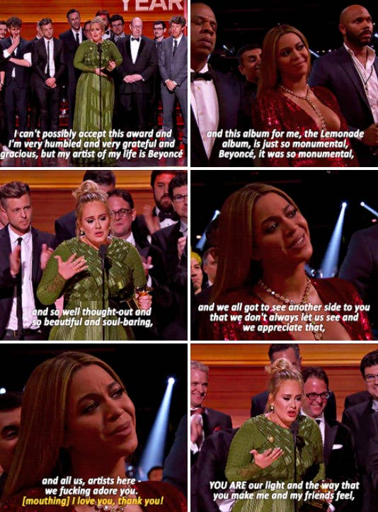 "Adele praising Beyoncé for the ""Lemonade"" album, saying it was monumental and ""So well thought-out and soul-baring"""