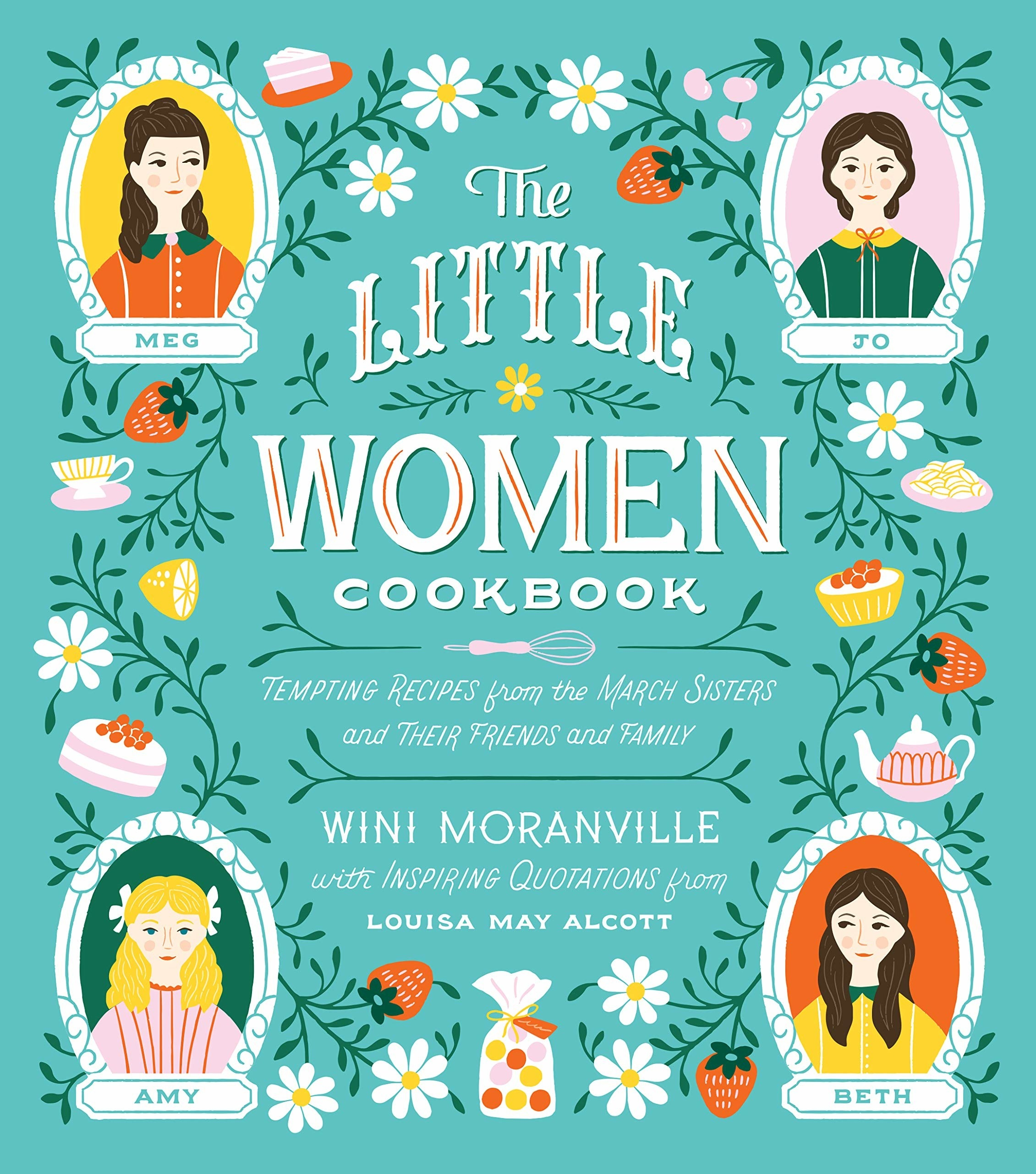 The cover of the book with illustrations of the four march girls