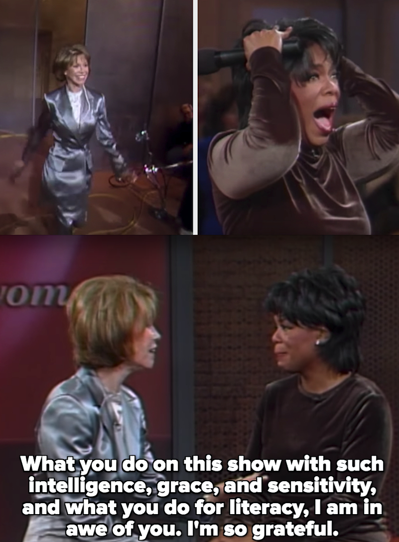 "Mary Tyler Moore telling Oprah: ""What you do on this show with such intelligence, grace, and sensitivity, and what you do for literacy, I am in awe of you"""