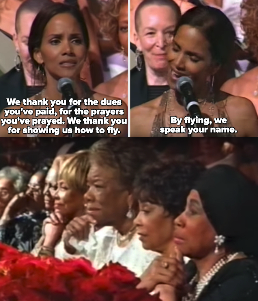 "Halle Berry thanking the legends, saying: ""We thank you for the dues you've paid, for the prayers you've prayed. We thank you for showing us how to fly. By flying, we speak your name"""