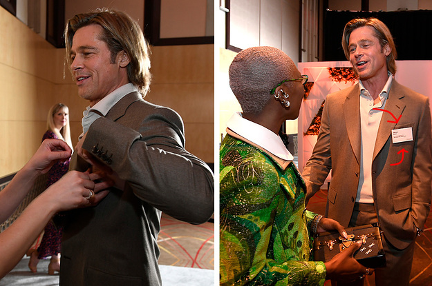 Here's Brad Pitt Putting On His Name Badge And Looking Very Happy With Himself At The Oscars Luncheon