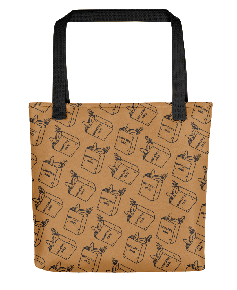 "A brown tote bag with illustrations of paper grocery bags that say ""grocery bag"" and have food peeking out of them."