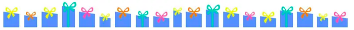 This is a graphic of about 20 blue gift boxes with different colored bows at the top all sitting in a line.