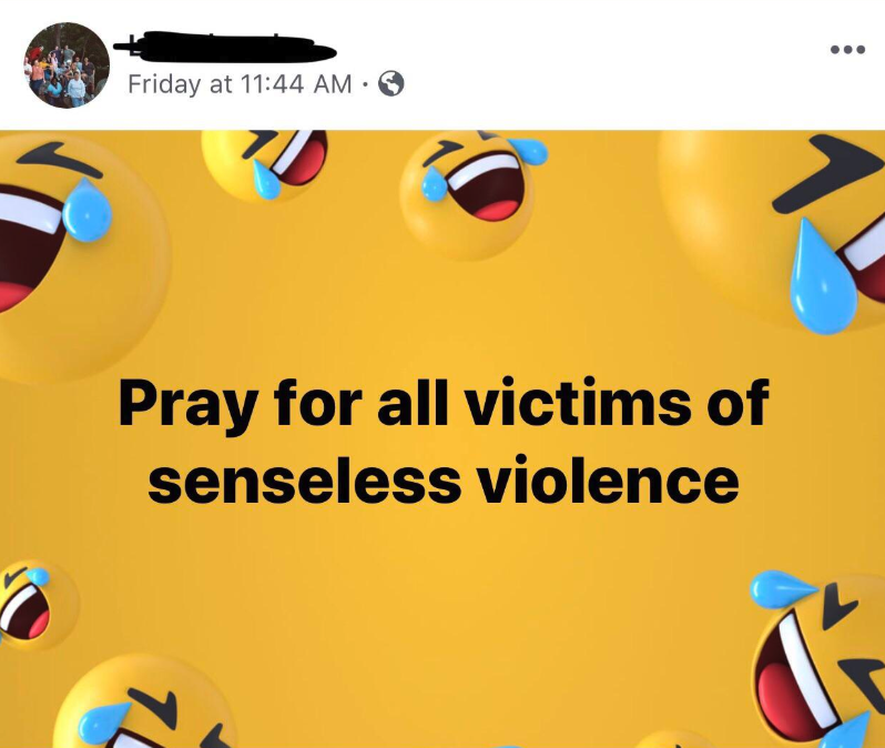 old person using the laughing crying emoji instead of a crying emoji when talking about senseless violence