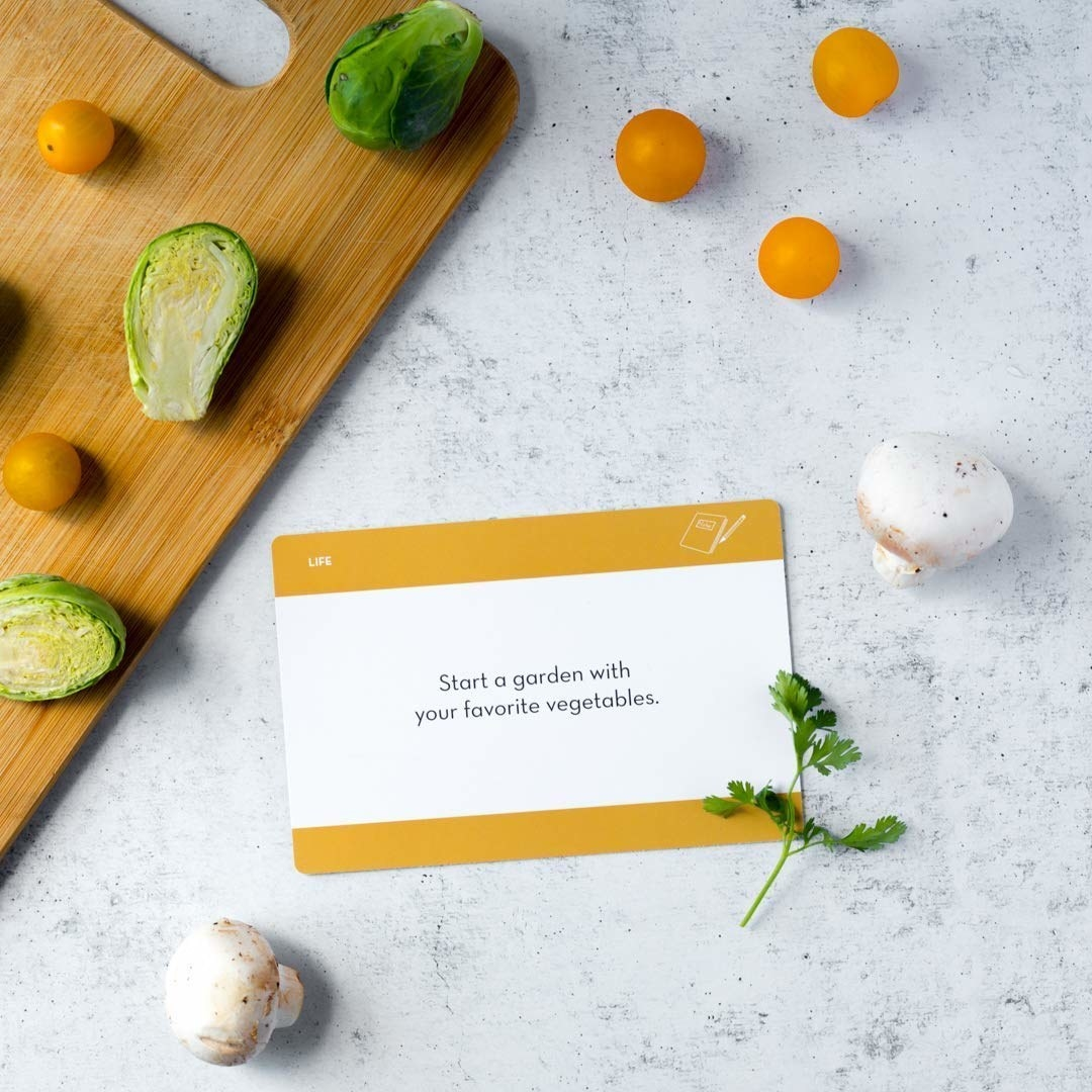 a card that says start a garden with your favorite vegetables