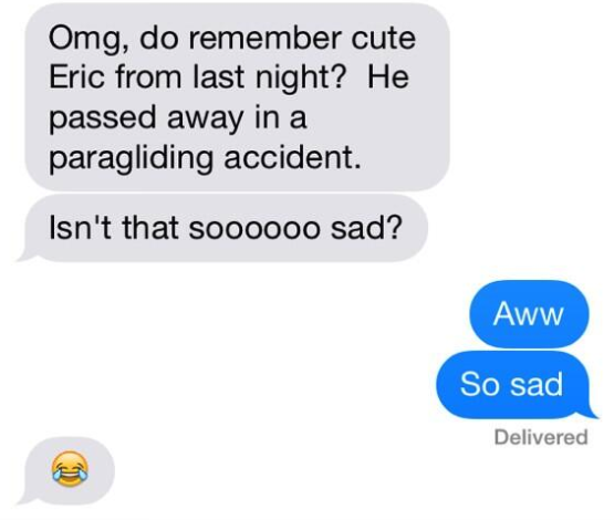 old person using the laughing crying emoji instead of a crying emoji when talking about a paragliding accident