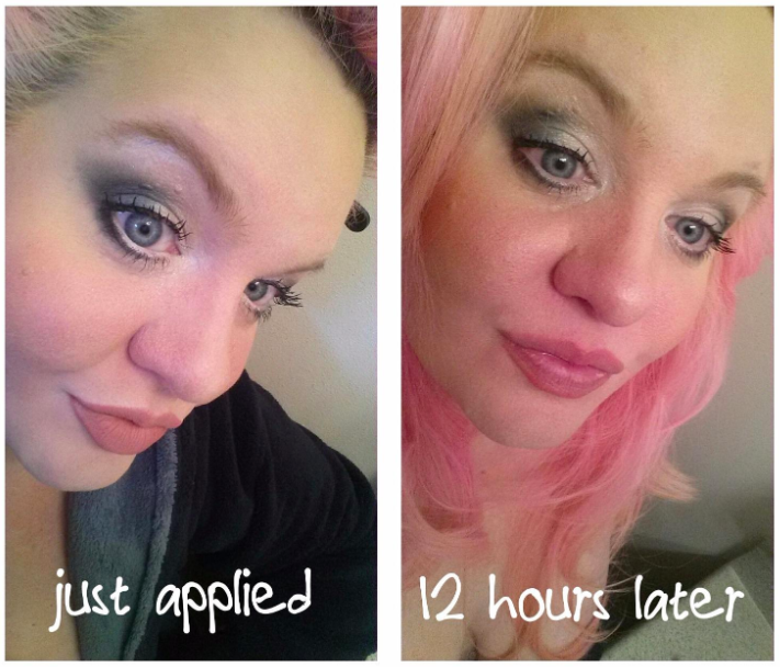 A series of customer review photos showing their makeup at the start and end of the day