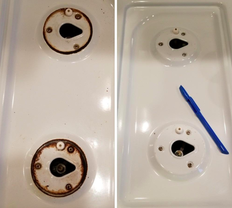 A customer review photo showing their stove top before and after using the scraper