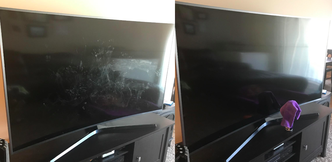 A customer review photo showing their TV screen before and after cleaning it