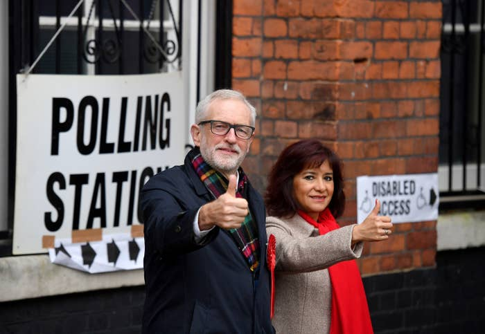 Jeremy Corbyn with his wife