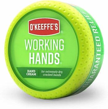 A jar of O'Keeffe's Working Hands Hand Cream.