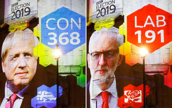 Exit poll results projected on the outside of the BBC building in London