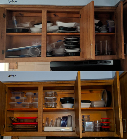 A customer review before and after of their cabinets organized