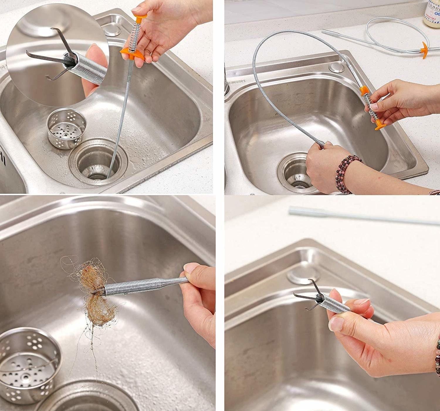 The drain snake pictured removing hair and other gunk for a clogged drain.