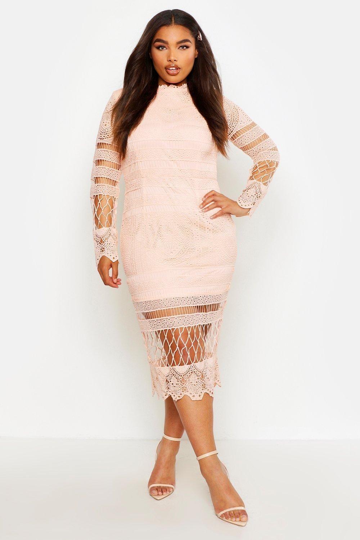 model wearing the blush lace dress