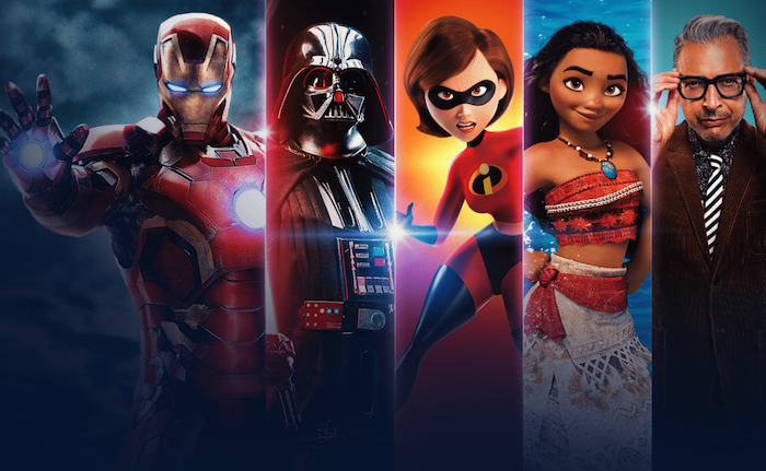 This is a split photo of Disney characters from different shows and movies. From left to right, Iron Man, Darth Vader, Mrs. Incredible, Moana, and Jeff Goldblum.
