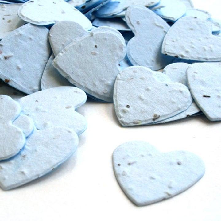The blue heart-shaped confetti
