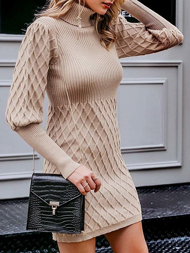 model wearing dress with turtleneck collar