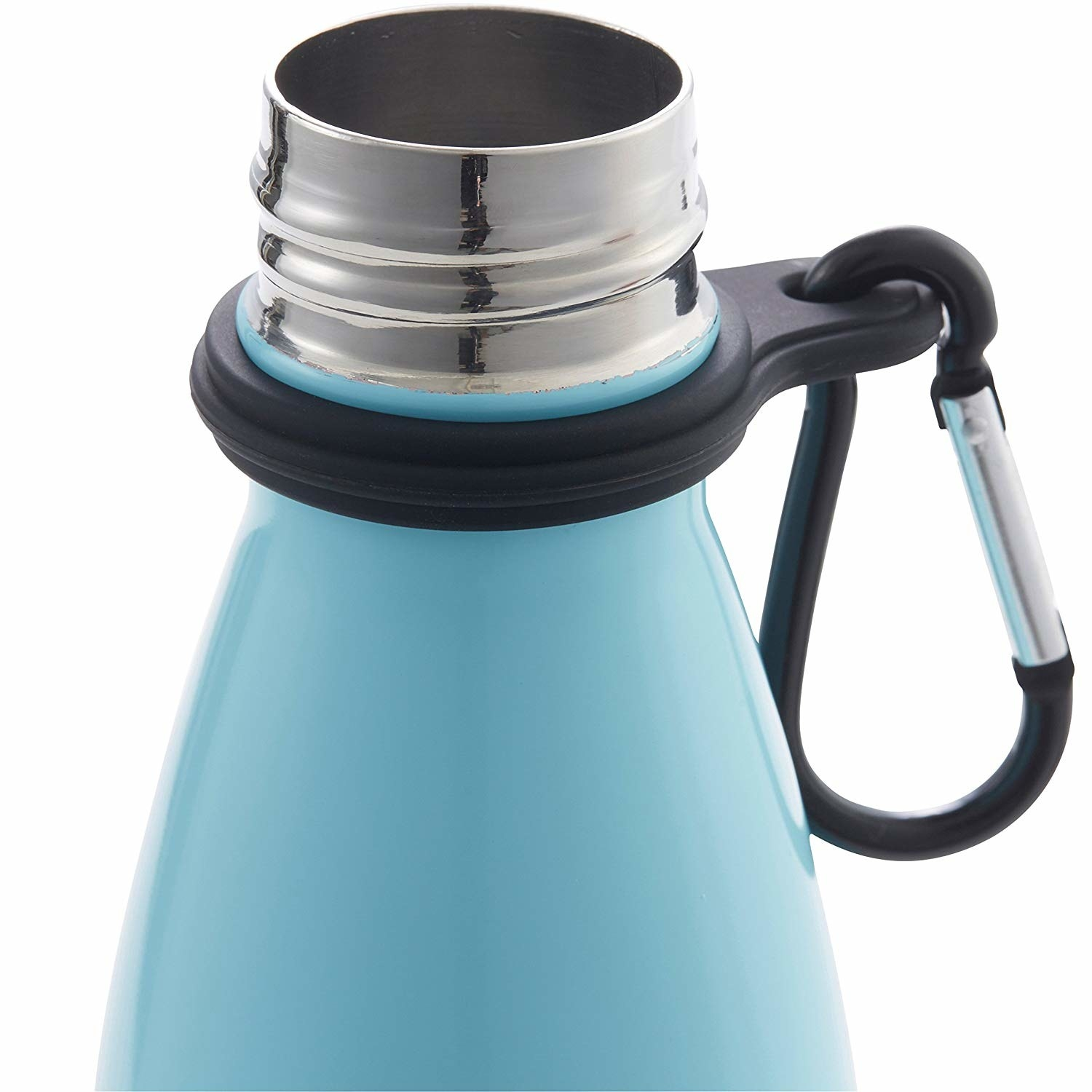 Water bottle with the holder and carabiner attached to the neck