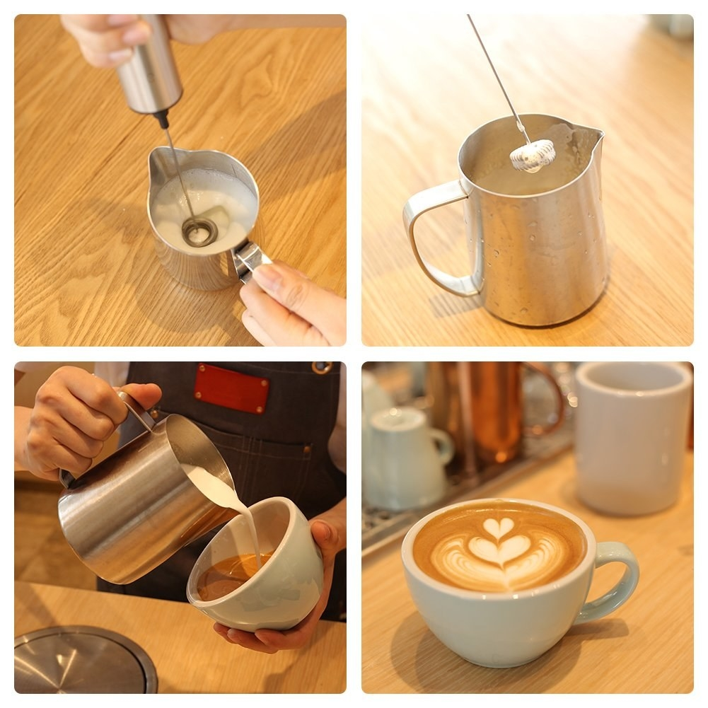 Four pictures showing someone frothing milk in a small metal can and creating latte art in a cup of coffee