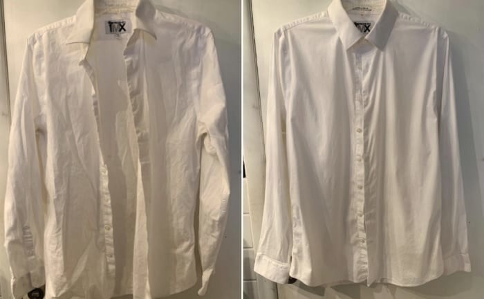 A reviewer's before and after photo of a wrinkled button down shirt which is now wrinkle-free