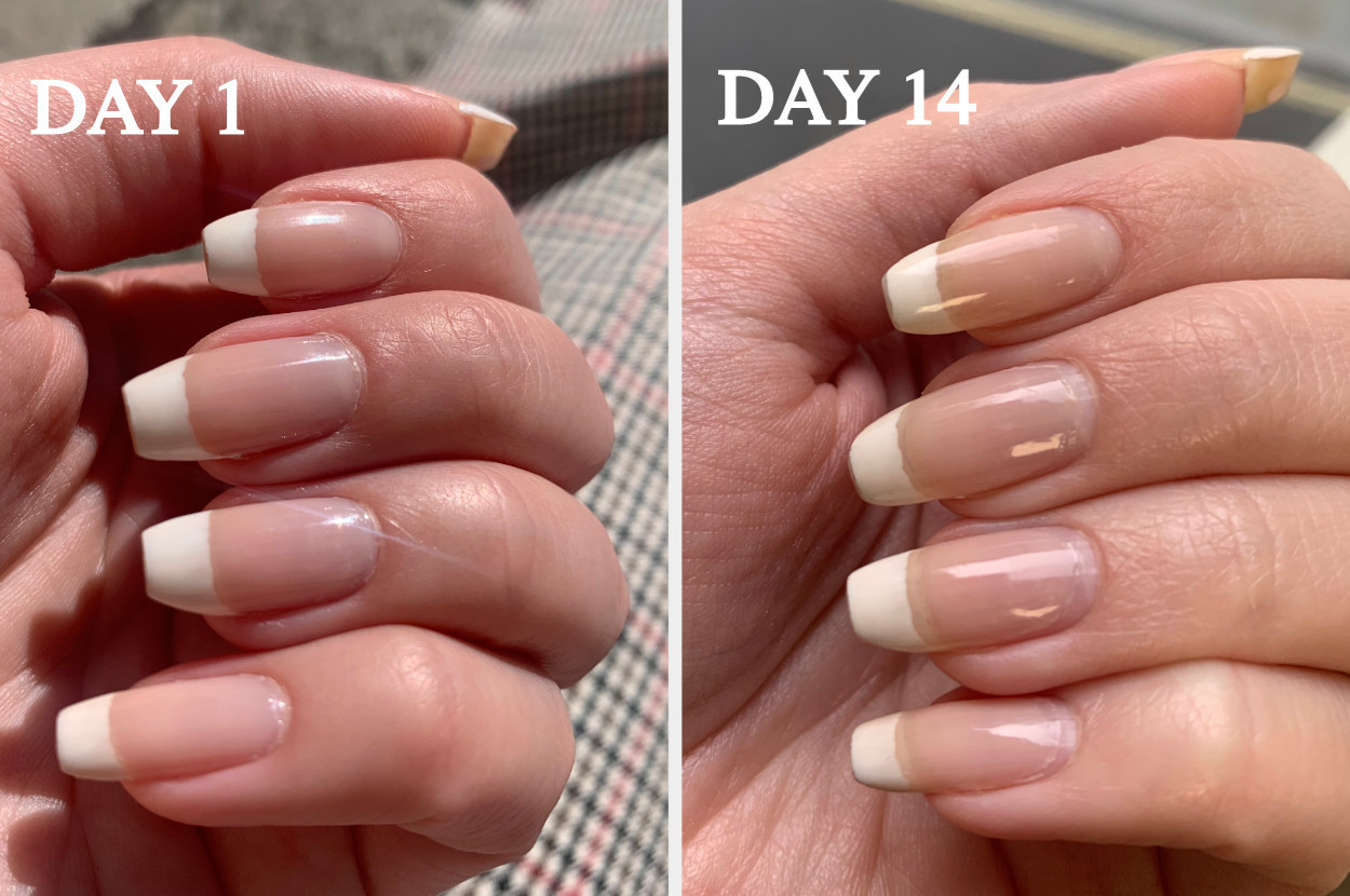 reviewer photo showing their nails on day 1 and then day 14 after using the top coat, showing their nails are chip free and looking healthy