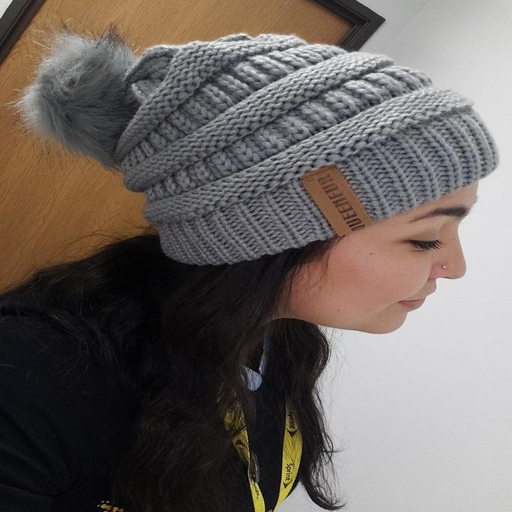 Reviewer wearing the gray version