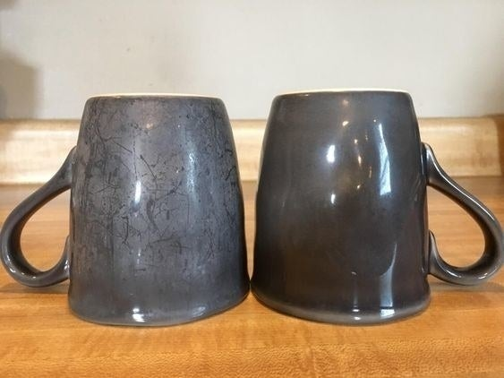 on the left a reviewer's mug with hard water stains, on the right an identical mug with no water stains