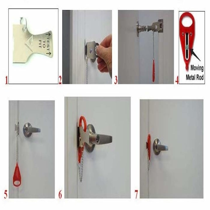 a sequence of photos in a collage that shows exactly how to stick the door lock into a door.