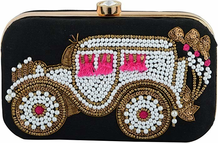 A black clutch with a vintage jeep embroidered on it with sequins and pearls