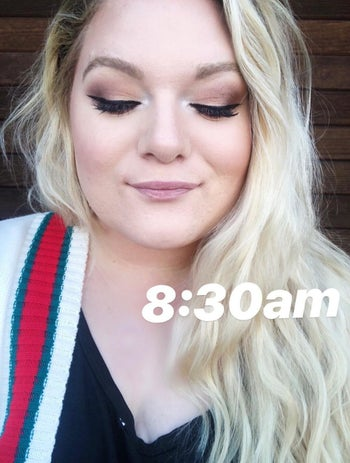 reviewer at 8:30 a.m. showing off their eye makeup