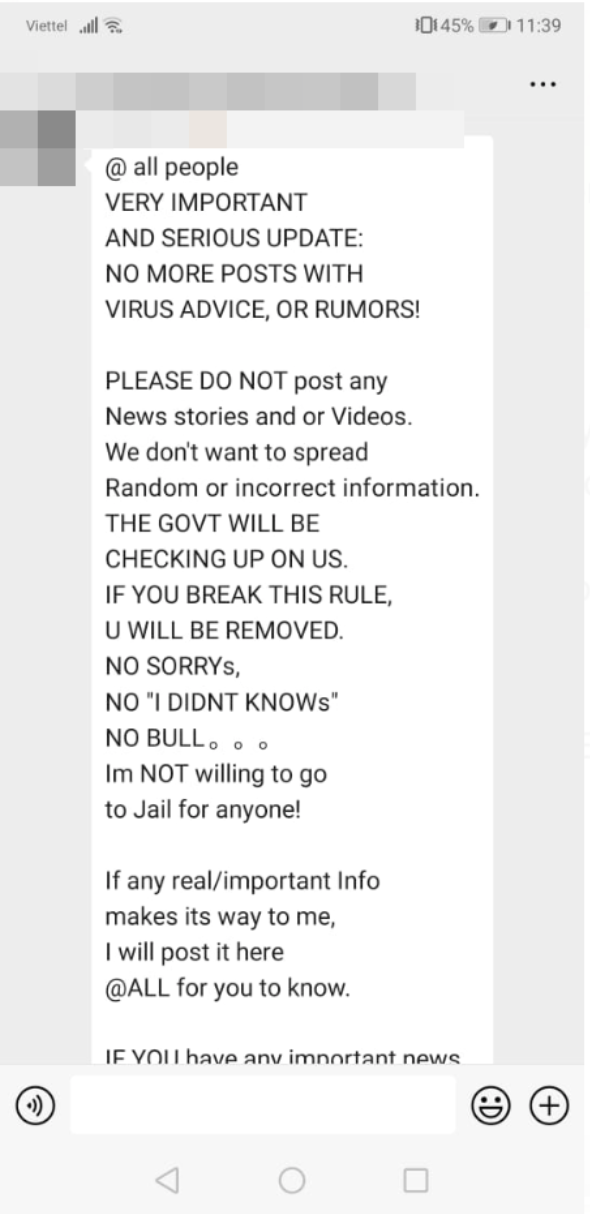 A message Julia received in a group chat on WeChat, warning against the sharing of unverified information about the coronavirus.